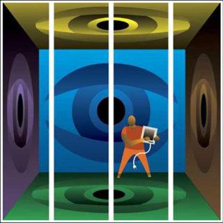 Преступник с компьютером за решеткой (иллюстрация Теофило Оливьери)