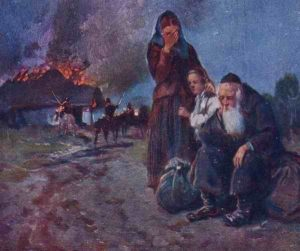 Казаки изгоняют евреев из местечка. С польской открытки