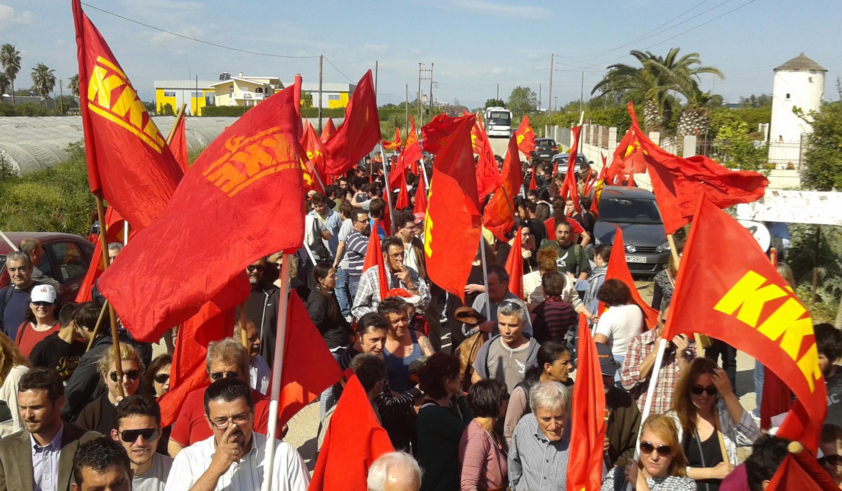 Греческие и иностранные рабочие на демонстрации