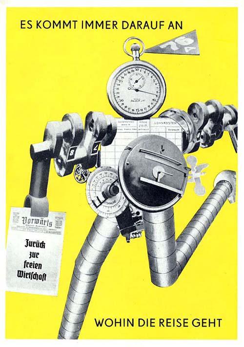 """Es kommt immer darauf an, wohin die Reise geht 1927 г. оригинал - в журнале Knuppel, 1927 """"Все зависит от того, куда ведет путь"""" """"Машинный"""" человек несет в руке номер социал-демократической газеты """"Вперед"""" с заголовком """"Назад к свободной экономике"""""""