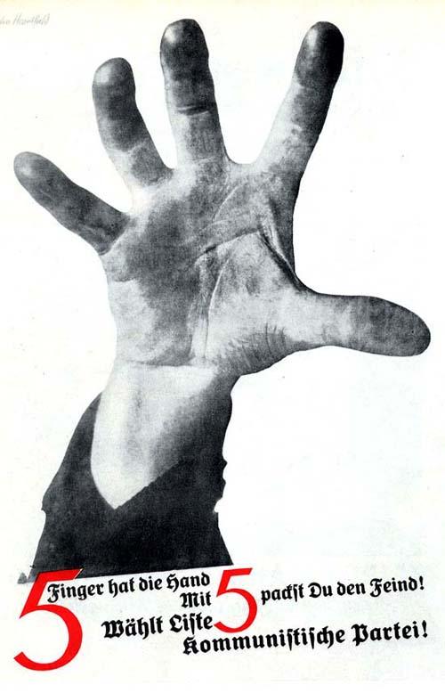 """5 Finger hat die Hand Mit 5 packst Du den Feind! Wahlt Liste 5 Kommunistische Partei! 1928   """"Пять пальцев имеет рука, Пятерней ты за горло ухватишь врага!"""" Голосуй за список номер 5 коммунистической партии"""" Предвыборный плакат коммунистической партии"""