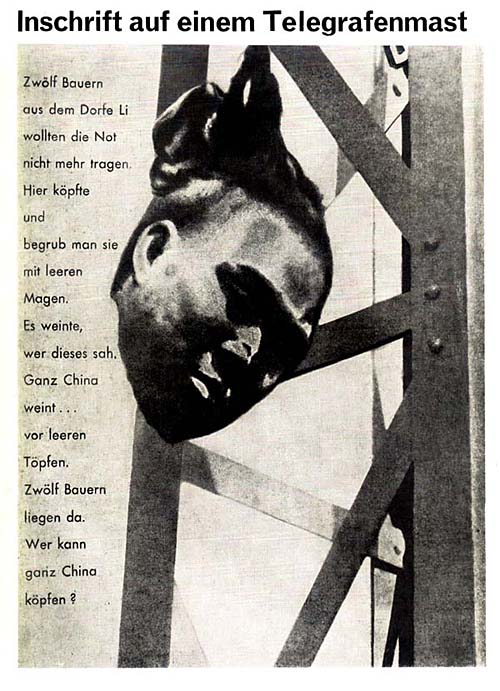 Inschrift auf einem Telegrafenmast 1927 Сообщение с телеграфной ленты 1927 В тексте говорится о том, что 12 крестьян из китайской деревни Ли не хотели жить в нужде. Им отрубили головы... Изображение было напечатано рядом с заметкой о казнях китайских революционеров, которые совершают англичане в Китае.