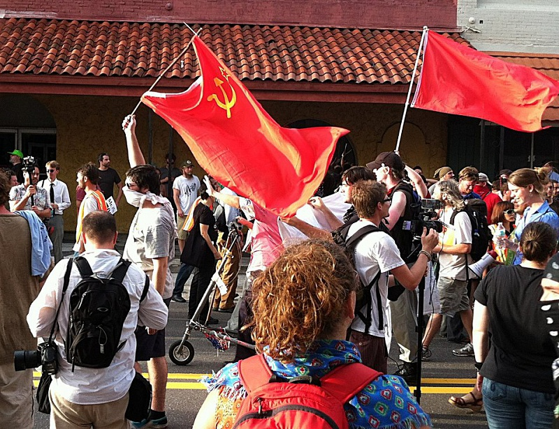 Демонстрация во время конвента республиканцев, Тампа, Флорида, август 2012 г.