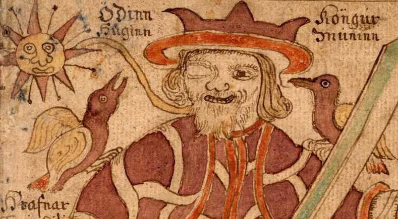 Бог Один с воронами Хугином и Мунином. Рисунок из исландской рукописи XVIII века.