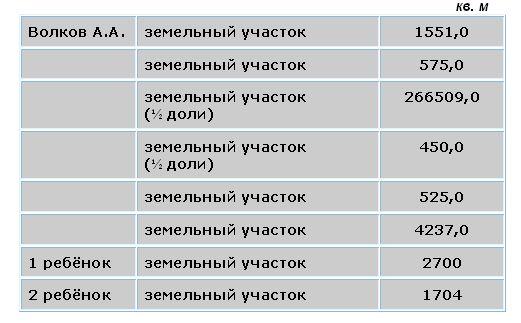 Земельные участки семьи А.А. Волкова-младшего в декларации 2012 года