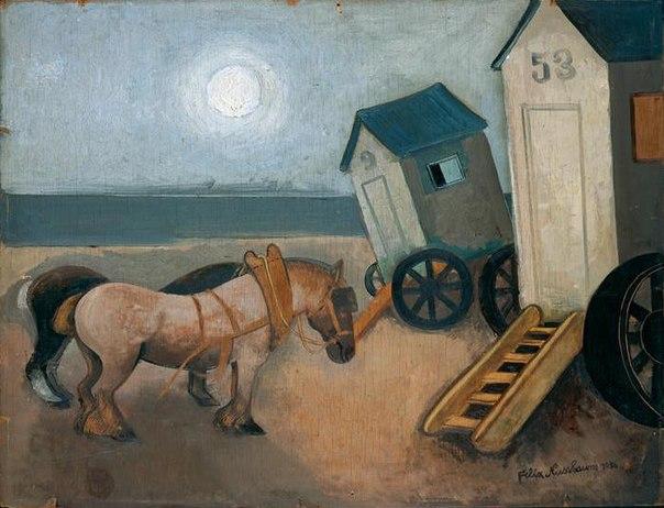 Лошади и купальная машина, 1936