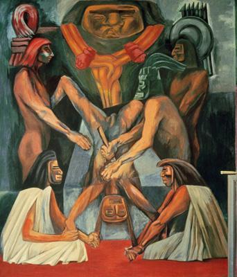 Американский эпос. Принесение человеческой жертвы. Фреска. 1932-34