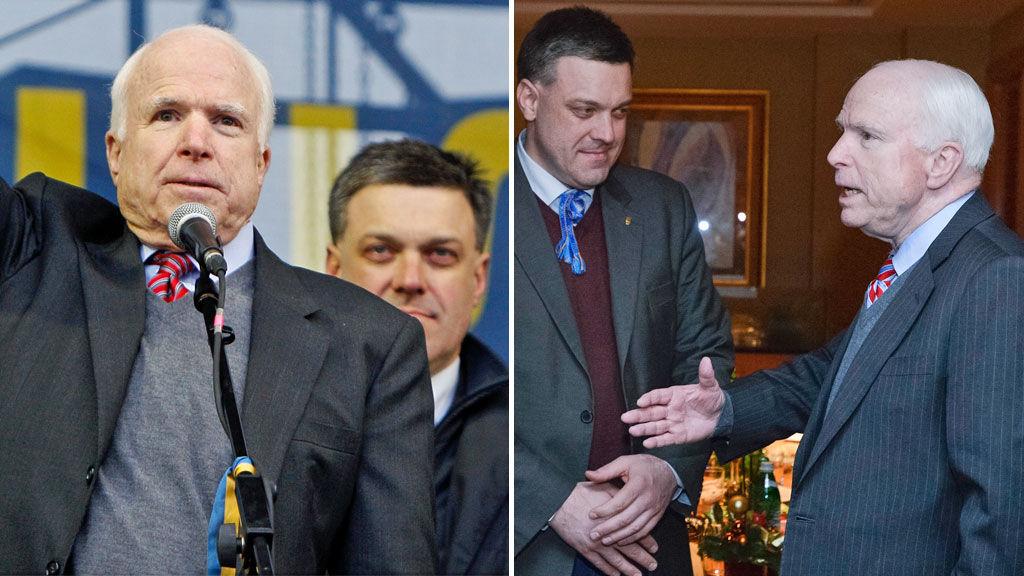 Когда сенатор США Джон Маккейн ужинал с лидерами украинской оппозиции в декабре, он разделил столик, а затем и сцену с лидером украинской ультраправой партии Олегом Тягнибоком