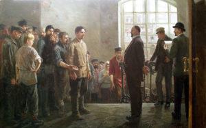 П. Крохоняткин. Забастовка на фабрике. 1953