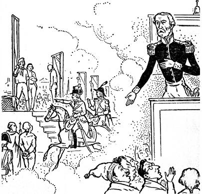 Военный диктатор генерал Кавеньяк. Карикатура на Кавеньяка