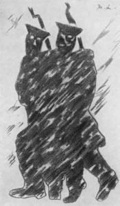 """М.Ф.Ларионов. Иллюстрация к поэме А.А.Блока """"Двенадцать"""". 1920"""