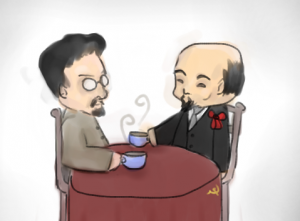Ленин и Троцкий за чайком