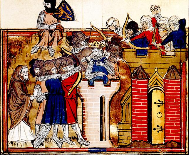 Взятие Иерусалима крестоносцами под предводительством Готфрида Бульонского Миниатюра, 1377 г.
